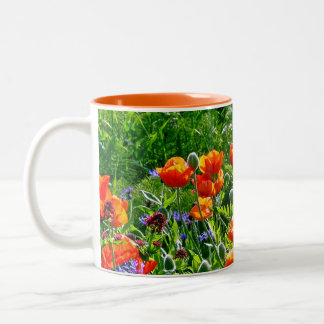 Mooie oranje de koffiemok van de papaverbloem