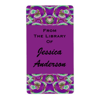 mooie paarse bookplates etiket