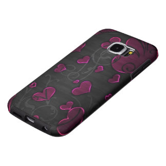 mooie paarse harten met wervelingsart. samsung galaxy s6  hoesje