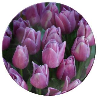 Mooie paarse tulpen bloemendruk porseleinen bord