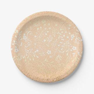 Mooie Perzik en Gouden Bloemen Elegant Huwelijk Papieren Bordje