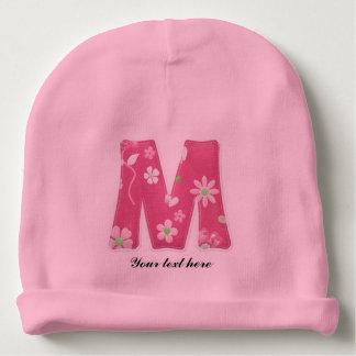 Mooie Roze Baby Met monogram Beanie met Bloemen Baby Mutsje