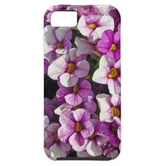Mooie roze en paarse petunia bloemendruk tough iPhone 5 hoesje