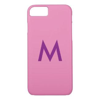 Mooie roze paarse monogramiPhone 7 hoesje