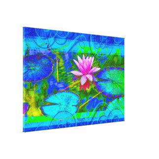 Mooie Roze Waterlily Lotus in Vijver Canvas Afdrukken
