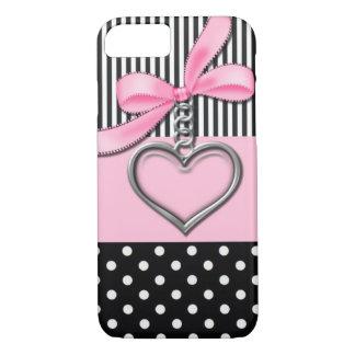 Mooie roze & zwarte iPhone 7 hoesje met hart