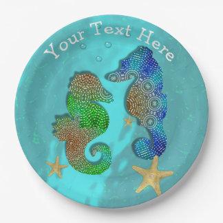 Mooie Seahorses die in Blauw Zee zwemmen Papieren Bordje