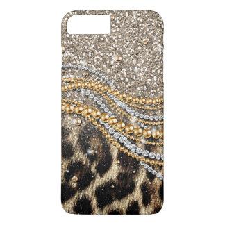 Mooie trendy luipaard faux dierlijke druk iPhone 7 plus hoesje