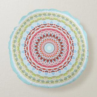 Mooie Trillende Kleurrijke Tweezijdige Mandala Rond Kussen
