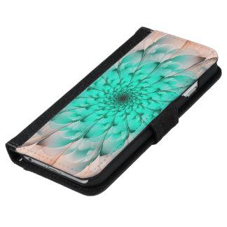 Mooie Turkooise Fractal van de Bloesem van de iPhone 5 Portefeuille Hoesje
