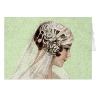 Mooie Vintage Bruid Wenskaart
