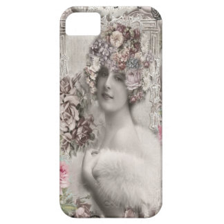 Mooie Vintage Dame met Juwelen & Bloemen Barely There iPhone 5 Hoesje
