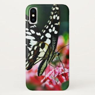 Mooie Vlinder op Rode Bloem iPhone X Hoesje