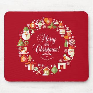Mooie Vrolijk Weinig Kerstmis | Mousepad Muismatten