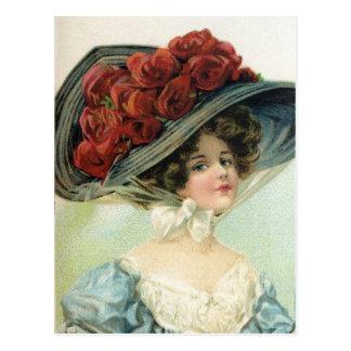 Mooie wijnoogst geschilderde dame, de rozen van de briefkaart