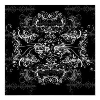 Mooie witte Swirlies op zwarte Perfect Poster