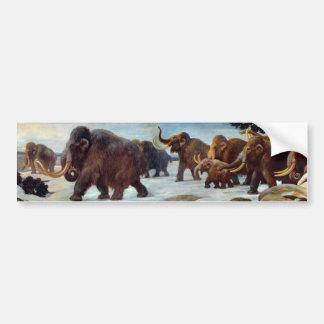 Mooie wollige mammoeten in sneeuwbumper stiker bumpersticker