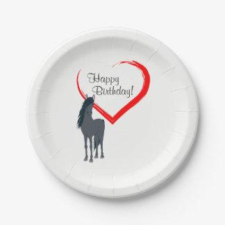 Mooie Zwart Paard en de Rode Gelukkige Verjaardag Papieren Bordje