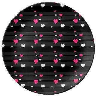 mooie zwarte strepen & het roze bord van het porselein bord