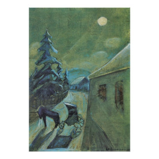 Moonscape met paard door Walter Gramatte Poster