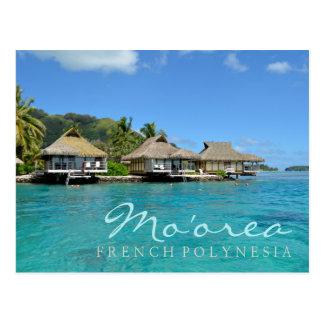 Moorea op Franse Polynesia met luxebungalowwen Briefkaart
