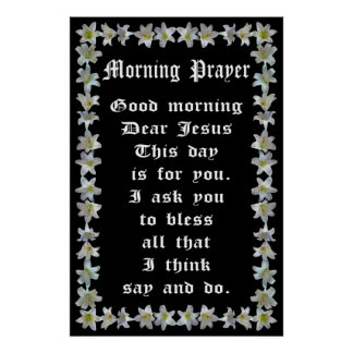 Morgengebed in een Lijst van de Lelie van Pasen Afdruk