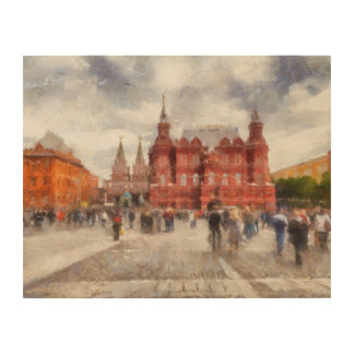 Moskou, Rusland, Vierkant Manezhnaya Hout Afdruk