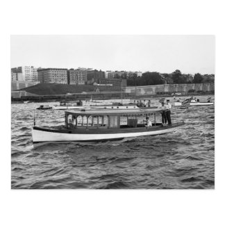 Motorboating op de Hudson Rivier, 1910 Briefkaart