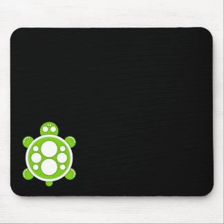 Mousemat, ronde schildpad, wit, kalkt groen, zwart muismat