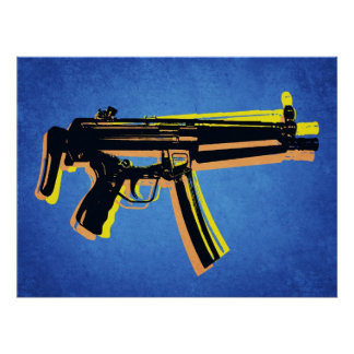 MP5 subMachinegeweer op Blauw Poster