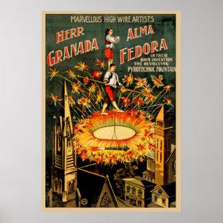 Mr. Granada, Alma Fedora Vintage Wire Artists Poster