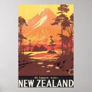 Mt. Poster van de Reis van Egmont Nieuw Zeeland