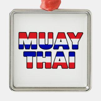 Muay Thai Zilverkleurig Vierkant Ornament
