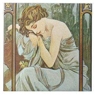 Mucha Repos DE La Nuit Tile de Doos van de Gift Tegeltje