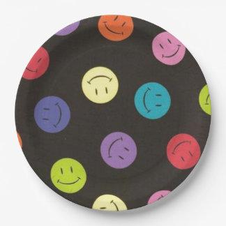 Multi-colored Gezichten van Smiley - Papieren Bordje