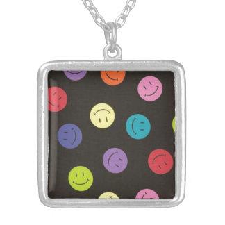 Multi-colored Gezichten van Smiley - Zilver Vergulden Ketting