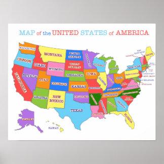 Multi-Colored Kaart van de Verenigde Staten Poster