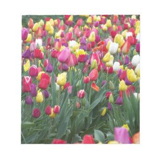 Multi-Colored Tulpen op Gebied Notitieblok