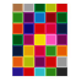 Multi Gekleurde Vierkanten en Strepen Girly Briefkaart