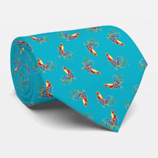 multi kleurrijke kraaiende hanen op blauw persoonlijke stropdassen