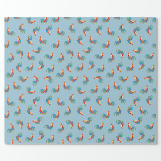 multi kleurrijke kraaiende jonge hanen inpakpapier