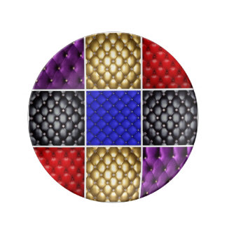 Multicolored Geplooid Leer & Collage Bling Porseleinen Bord