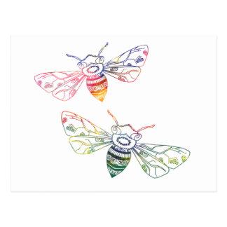 Multicolored Krabbels van de Honingbij Briefkaart