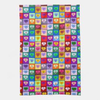 Multicolored smileyharten theedoek