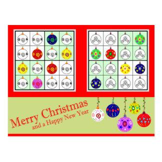 Multicolored Sudoku voor Kerstmis Briefkaart