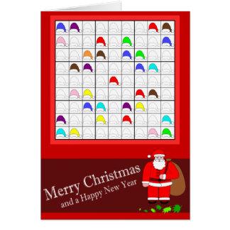 Multicolored Sudoku voor Kerstmis Kaart
