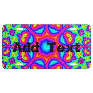 Multicolored trendy Patroon Nummerplaat