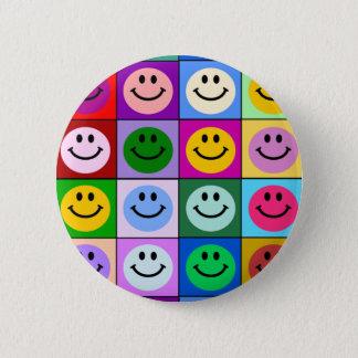 Multicolored Vierkanten Smiley Ronde Button 5,7 Cm