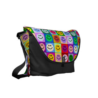 Multicolored zak van Vierkanten Smiley Courier Bag