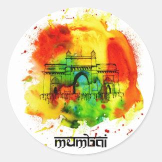 mumbai gateway van de heldere waterverven van ronde sticker